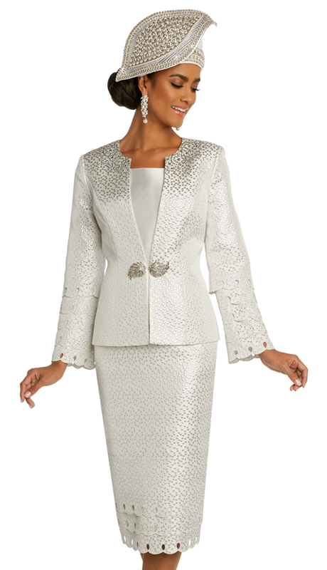 Donna Vinci 5675 ( 3pc Exclusive Novelty And Silk Ladies Church Suit With Rhinestone Trims, Buckle, And Silver Beaded Design )