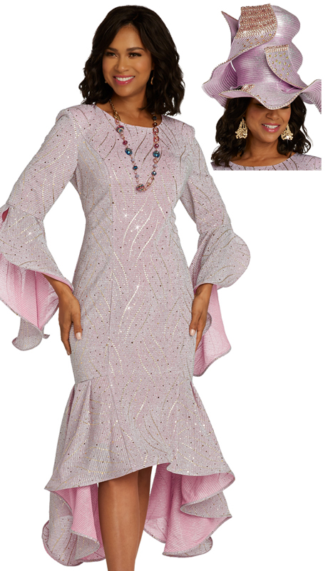 Donna Vinci 5674 ( 1pc Novelty Ladies Sunday Dress With Textured Metallic And Jeweled Fabric )