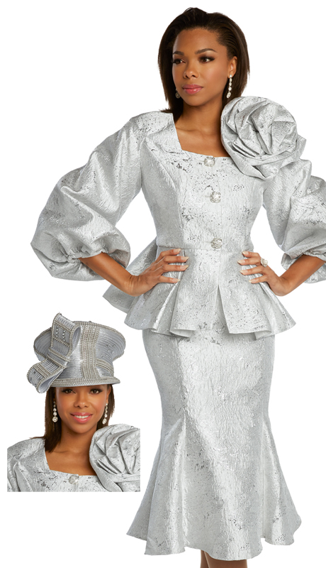Donna Vinci 5673 ( 2pc Exclusive Novelty With Metallic Brocade Womens Sunday Suit With Beautiful Textured Pattern And Rhinestone Buttons )