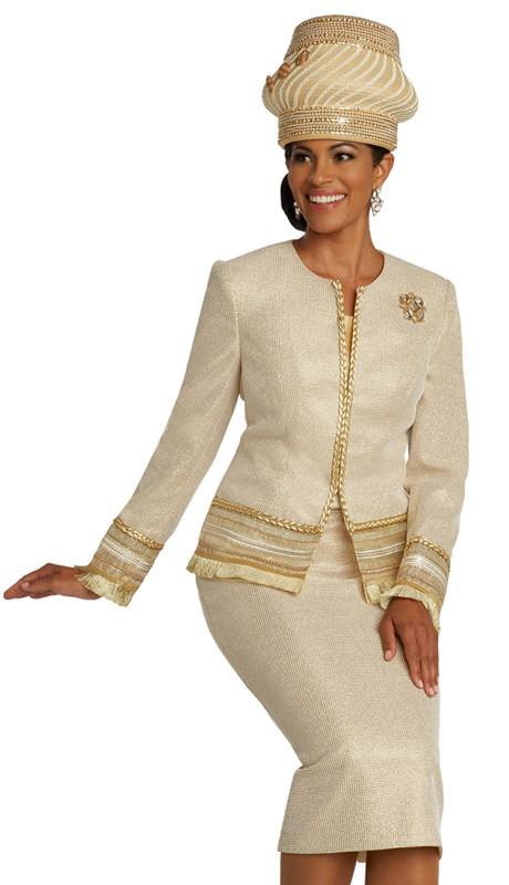 Donna Vinci 5671 ( 3pc Novelty Womens Sunday Suit With Textured Metallic Fabric, Trimmed With Gold Bands And Gold Fringe )