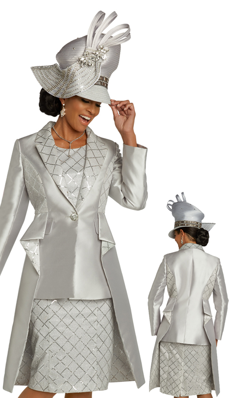 Donna Vinci 5670 ( 2pc Novelty And Silk Lades Dress For Church With Rhinestone Button And Rippled Jacket Design )
