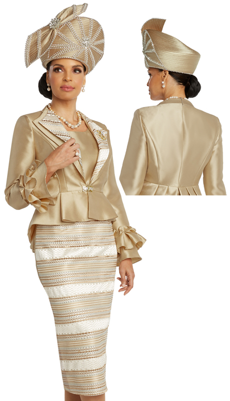 Donna Vinci 5669 ( 3pc Novelty With Silk Womens Church Suit With Detachable Broach And Rhinestone Buckle )