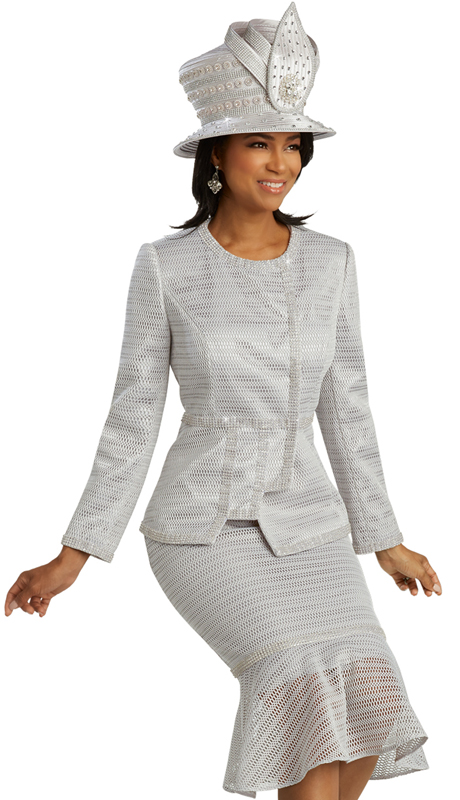 Donna Vinci 5668 ( 2pc Novelty First Ladies Suit For Sunday With Elaborate Rhinestone Trim )