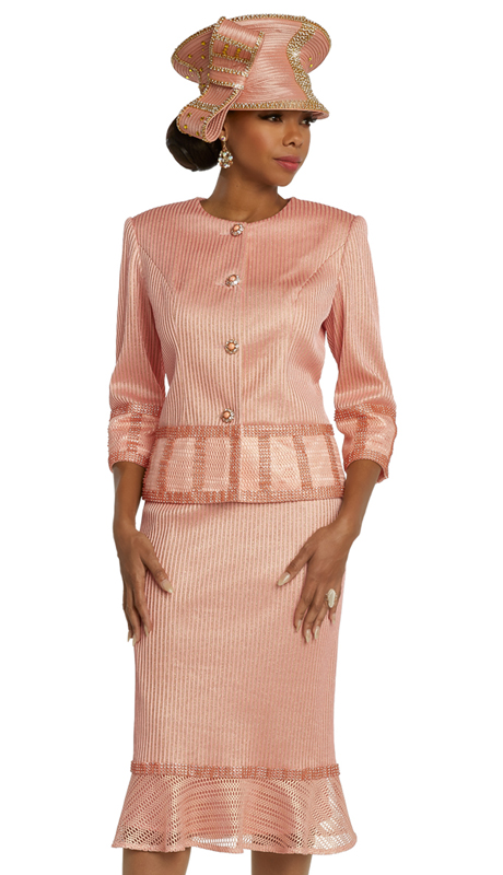 Donna Vinci 5664 ( 2pc Exclusive Novelty First Ladies Skirt Suit For Church With Elaborate Rhinestone Trims And Buttons )