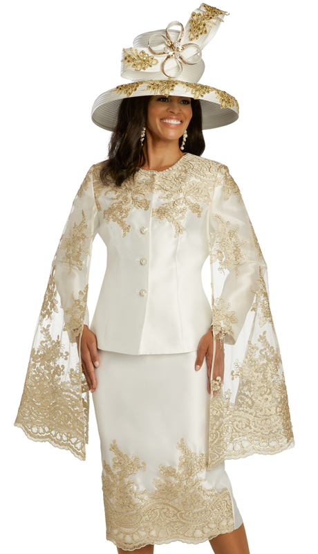 Donna Vinci 11823 ( 2pc Exclusive Silk Womens Church Suit With Beautiful Guipure Lace, Gold Embroidery, And Pearl With Rhinestone Buttons )