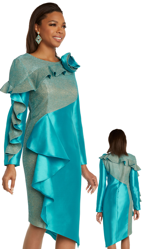 Donna Vinci 11848 ( 1pc Exclusive Silk First Ladies Sunday Dress Trimmed With A Two Tone Metallic Accent )