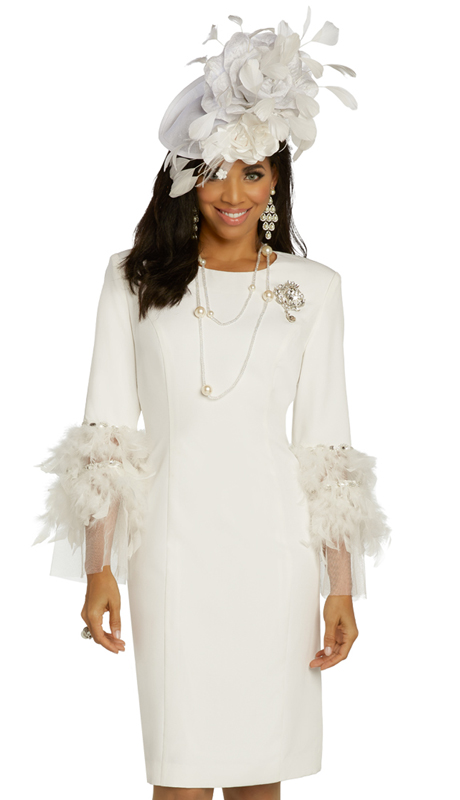 Donna Vinci 11855 ( 1pc Exclusive PeachSkin Womens Dress For Sunday Trimmed With Feathers, Rhinestones, And A Detachable Broach )