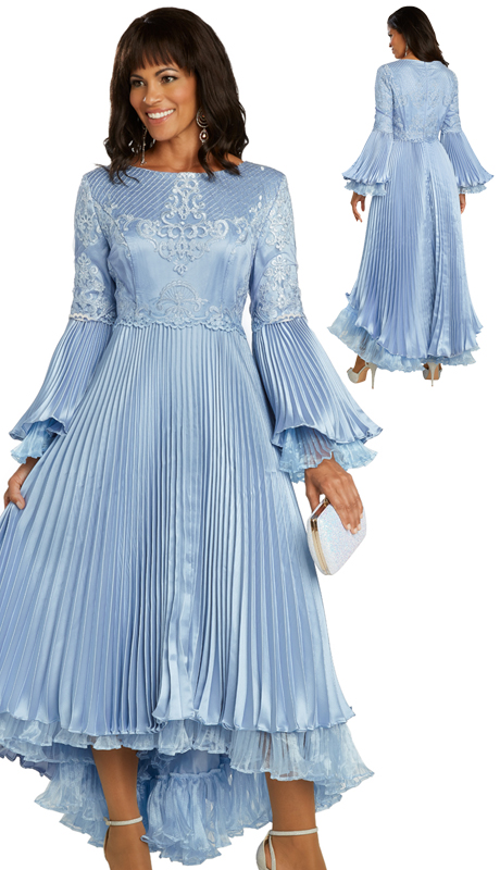 Donna Vinci 11850-FB ( 1pc Exclusive Silk Womens Church Dress Designed With Embroidered Organza And Trimmed With Sequins )
