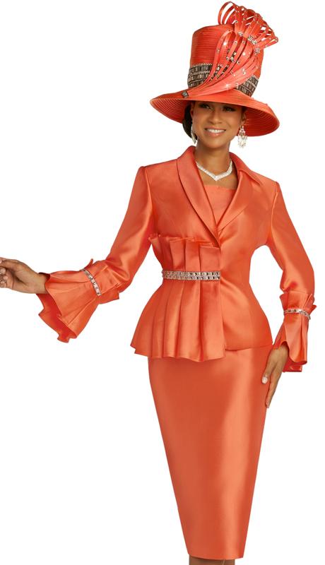 Donna Vinci 11841 ( 2pc Exclusive Silk Womens Sunday Suit With Ornate Rhinestone Trim )