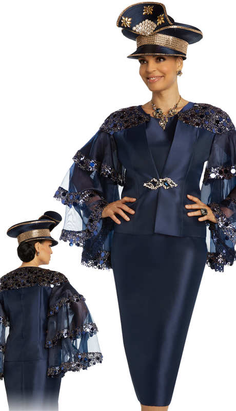 Donna Vinci 11858 ( 2pc Exclusive Silk And Organza Ladies Church Suit With Novelty Sequins Trim And A Beautiful Rhinestone Buckle )-Hat