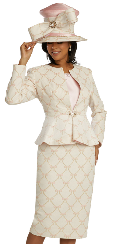 Donna Vinci 11834 ( 2pc Exclusive Silk Ladies Suit For Church With Novelty Multicolored Sequins And Trimmed With Colored Rhinestones )