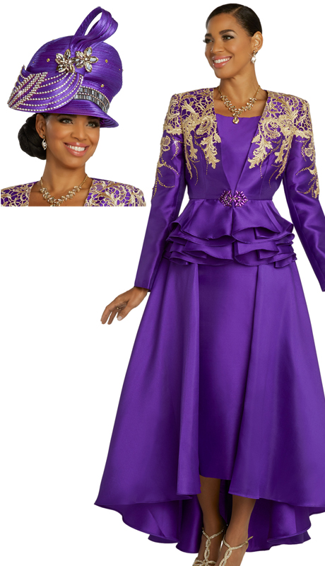 Donna Vinci 11851-PG ( 1pc Exclusive Silk Ladies Church Suit With Gold Guipure Lace, Gold Rhinestones, And Rhinestone Buckle )