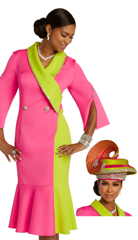 Donna Vinci 11845 ( 1pc Exclusive PeachSkin Ladies Dress For Sunday With Two Tone Flare And Rhinestone Trims And Buttons )