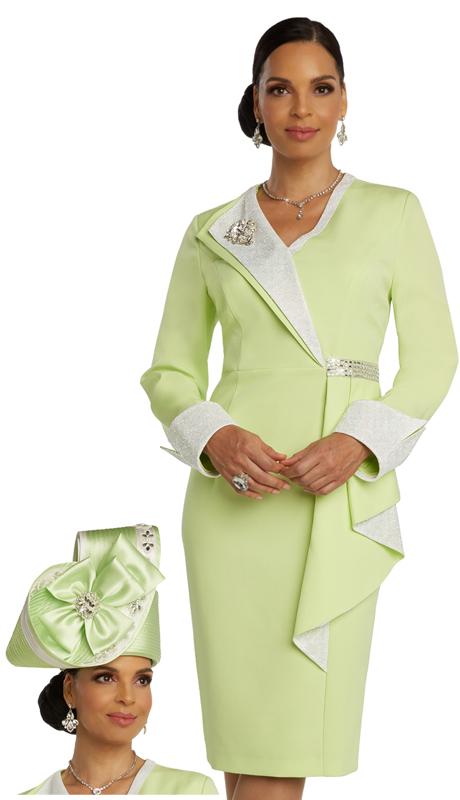 Donna Vinci 11847 ( 1pc Exclusive PeachSkin Womens Church Dress With Metallic Trims, Rhinestone Band And Detachable Broach )