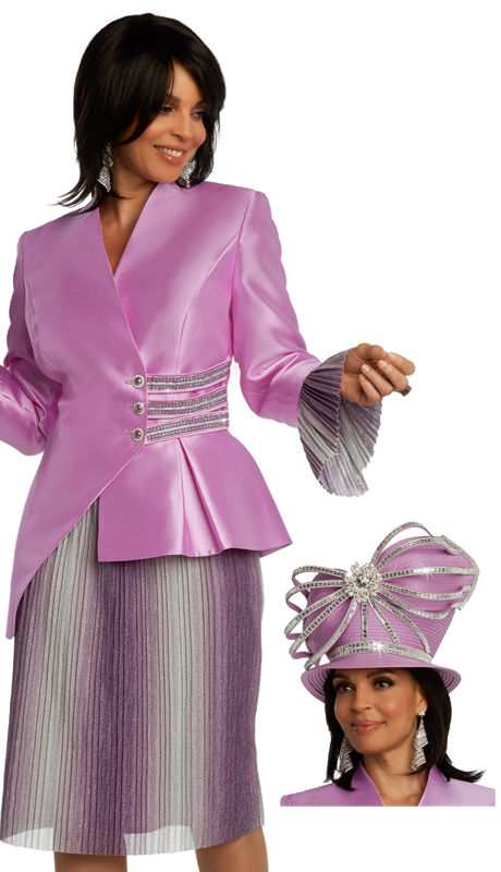 Donna Vinci 11842 ( 2pc Exclusive Silk Ladies Suit For Church With Pleated Metallic Sleeves, And Rhinestone Trims And Buttons )