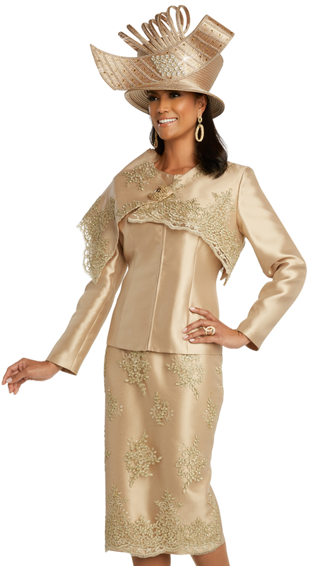 Donna Vinci 11828 ( 2pc Exclusive Silk Womens Sunday Suit With Exclusive Embroidered Metallic Guipure Lace And Rhinestone Broach )