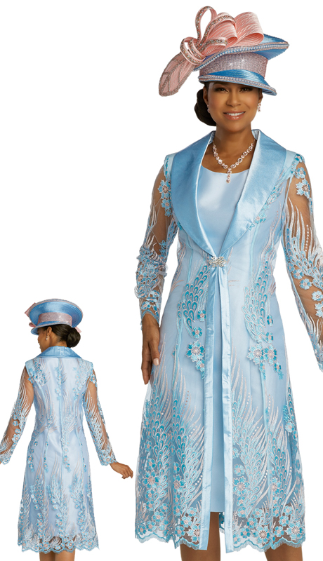 Donna Vinci 11835 ( 2pc Exclusive Silk And Organza Womens Church Dress With A Beautiful Embroidered Pattern In Pink And Light Blue )