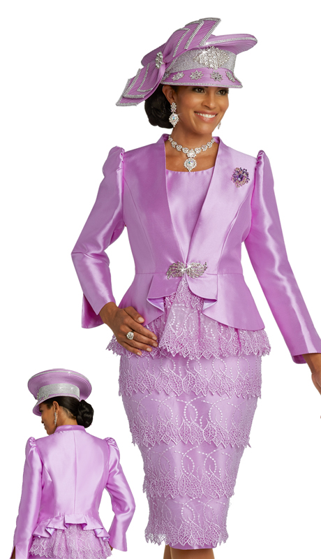 Donna Vinci 11829 ( 2pc Exclusive Silk Womens Church Suit With Embroidered Organza, Trimmed With A Beautiful Rhinestone Buckles And Detachable Broach )