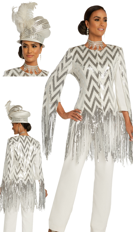 Donna Vinci 11838 ( 2pc Exclusive Novelty First Ladies Pant Suit With Sequins And PeachSkin With Sequins Fringe )