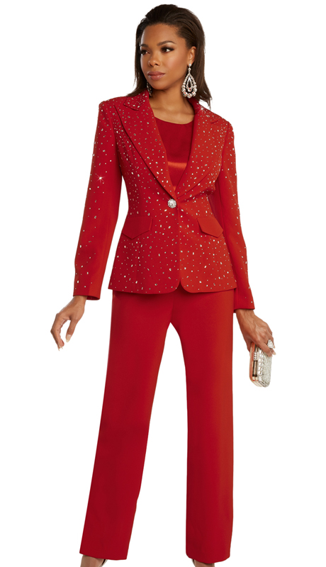 Donna Vinci 11856 ( 3pc Exclusive PeachSkin First Ladies Sunday Suit With Shimmering Rhinestone Studded Jacket And Decorative Button )