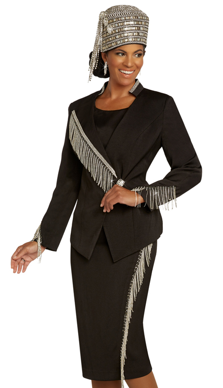 Donna Vinci 11852 ( 2pc Exclusive PeachSkin Ladies Church Suit Trimmed With Rhinestone Fringe And Rhinestone Band And Button )