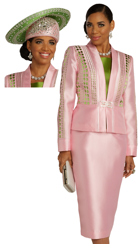 Donna Vinci 11827 ( 3pc Exclusive Silk Ladies Sunday Suit With And Elaborate Laser Cut Design And Rhinestone Buckle )