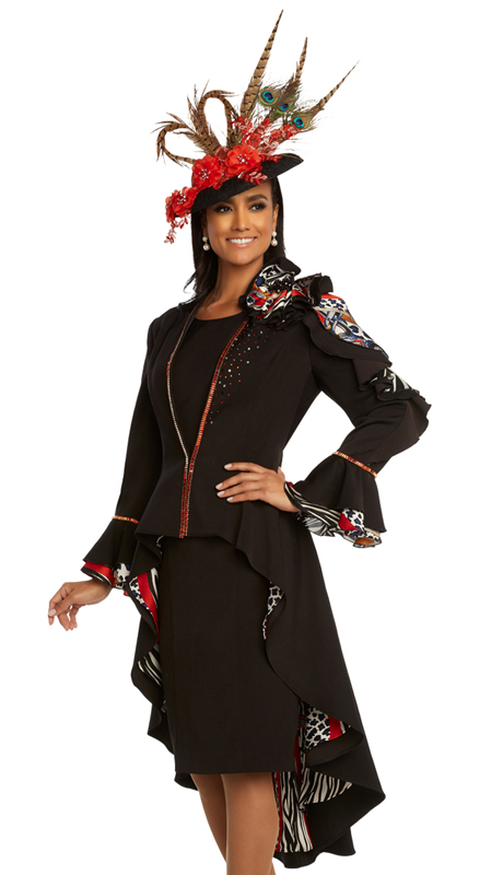 Donna Vinci 11830 ( 2pc Exclusive PeachSkin Ladies Church Dress Trimmed With Red And Black Rhinestones And Multi Printed Accents )