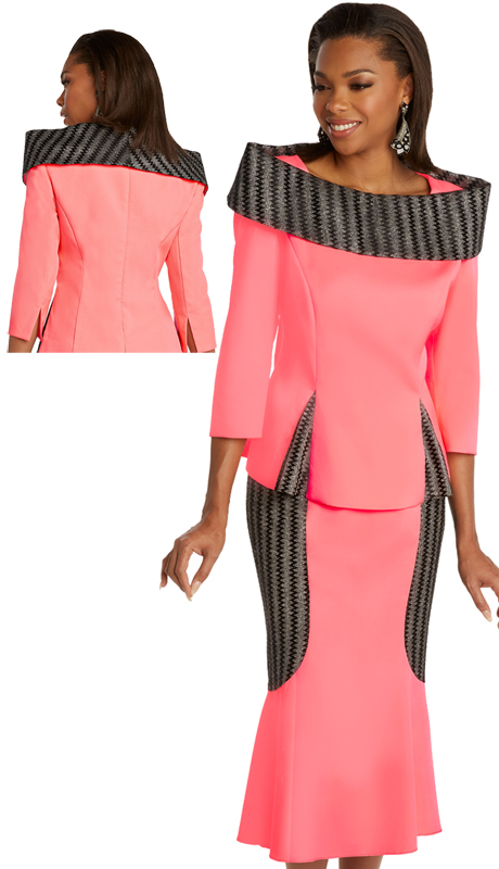 Donna Vinci 11849 ( 2pc Exclusive PeachSkin Ladies Church Suit Trimmed With Metallic Novelty Accents And Portrait Collar )