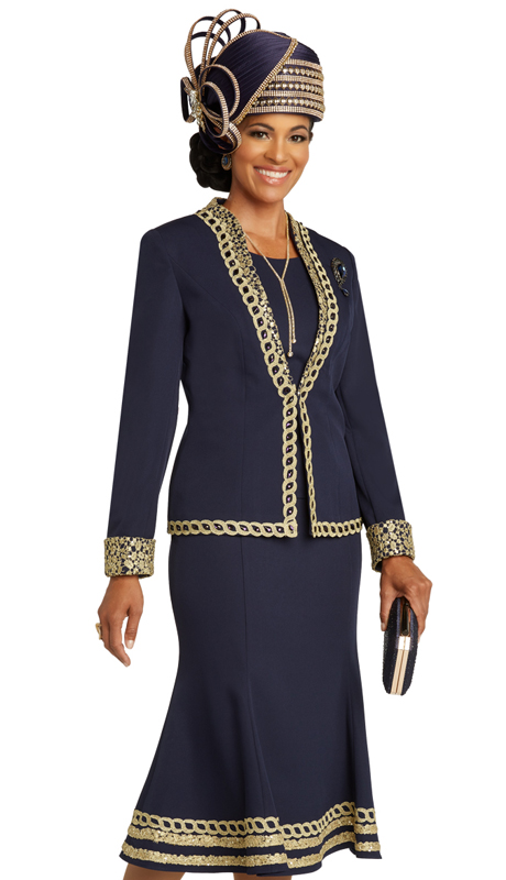 Donna Vinci 11854 ( 3pc Exclusive PeachSkin Ladies Sunday Suit Trimmed With Gold Guipure Lace, Navy Rhinestones, And A Detachable Broach )