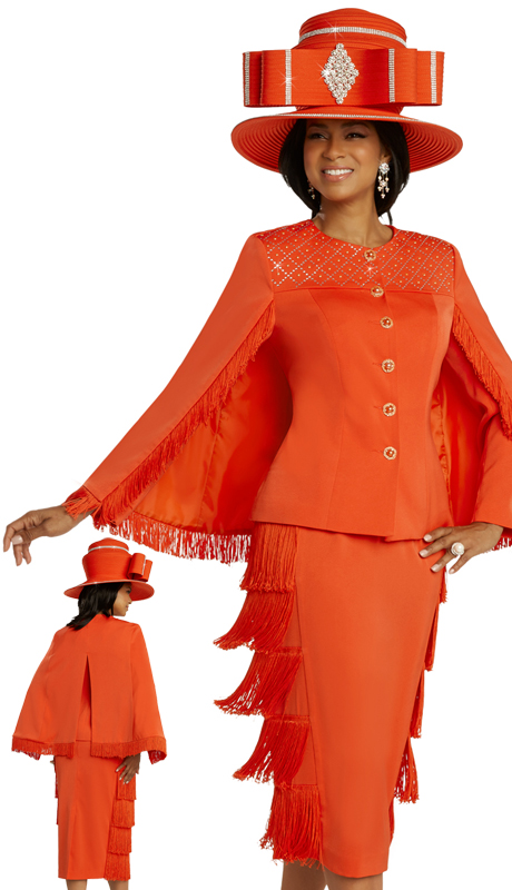Donna Vinci 11857 ( 2pc Exclusive PeachSkin Womens Sunday Suit With Rhinestone And Pearl Patterning, And Fringe Trim )