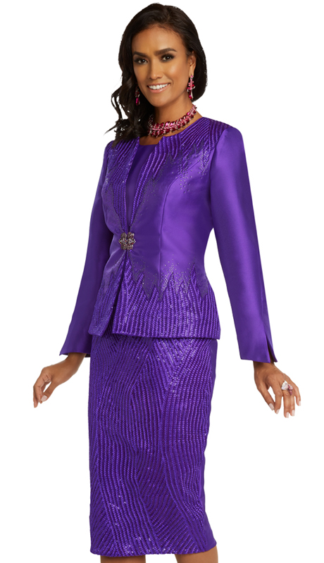Donna Vinci 5696 ( 3pc Exclusive Womens Silk Church Suit With Elaborate Embroidered Design Accented With Rhinestones And Ornate Buckle )