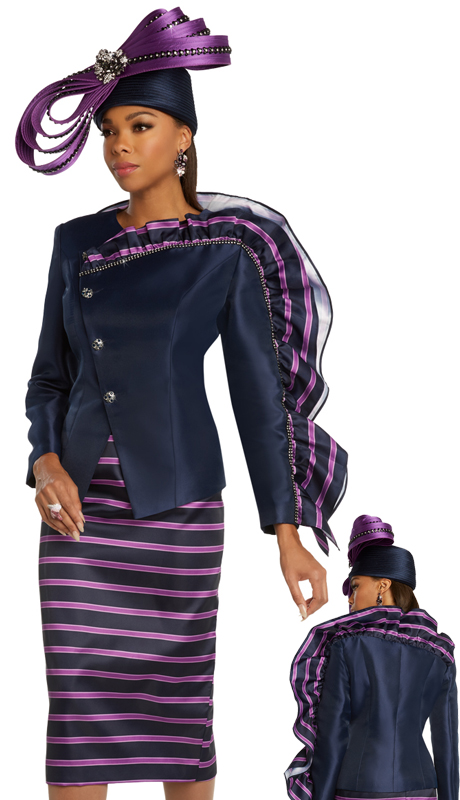 Donna Vinci 11836 ( 2pc Exclusive Silk Solid And Print Ladies Church Suit With Asymmetrical Jacket, And Ruffled Decorative Arm )