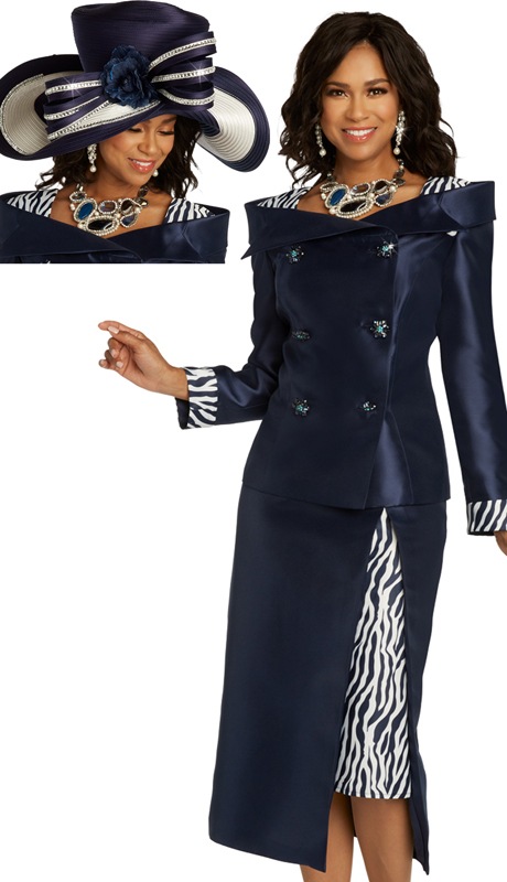 Donna Vinci 11843 ( 2pc Exclusive Silk Womens Suit For Church With Animal Print Accents And Beautiful Rhinestone Buttons )