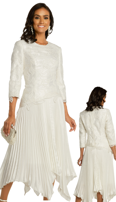 Donna Vinci 11859 ( 1pc Exclusive Novelty Embroidered First Ladies Church Dress With Pleated Silk )