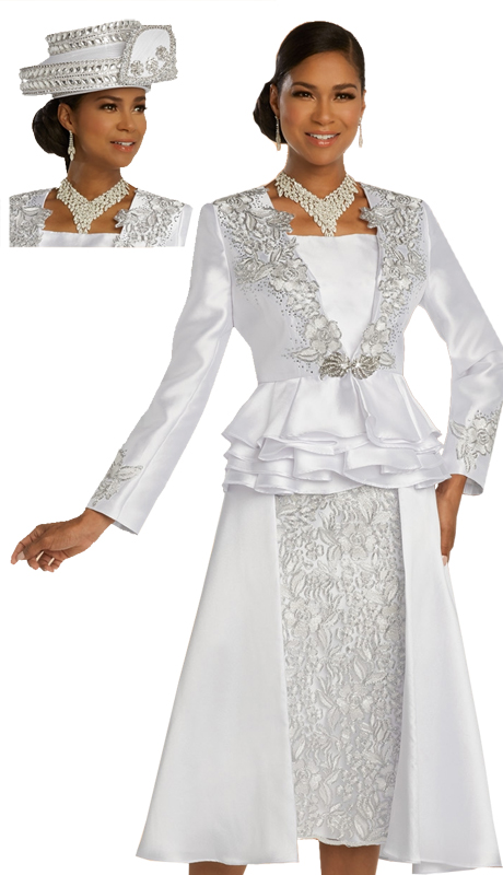 Donna Vinci 11821 ( 2pc Exclusive Silk Ladies Church Suit Trimmed With Elaborate Silver Embroidery With Rhinestone Accents And A Beautiful Rhinestone Buckle )