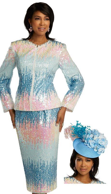 Donna Vinci 5695 ( 2pc Exclusive Novelty Womens Sunday Suit With Multi Colored Sequins Trimmed With Rhinestones )