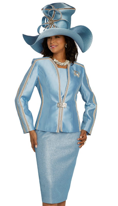 Donna Vinci 5694 ( 3pc Exclusive Textured Metallic Novelty And Silk Womens Suit For Church With Gold Trimmed Bands, And Rhinestone Broach And Buckle )