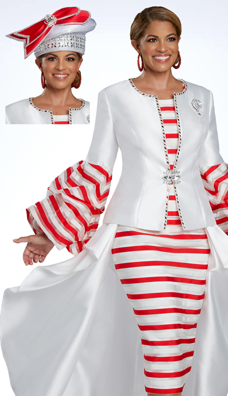 Donna Vinci 11913 ( 3pc Exclusive Silk Womens Sunday Suit Designed With A 3D Novelty Stripe Embellishment, And Red And Clear Rhinestone Accents )
