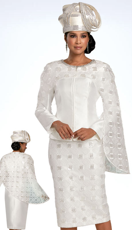 Donna Vinci 11916 ( 2pc Exclusive Sillk And Novelty Womens Church Suit With Beautiful Rhinestone Trimmed Neck Design )