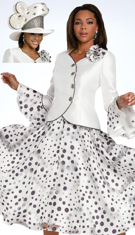 Donna VInci 11918 ( 2pc Exclusive Silk First Ladies Church Suit With Polka Dot Novelty Design And Rhinestone Buttons )