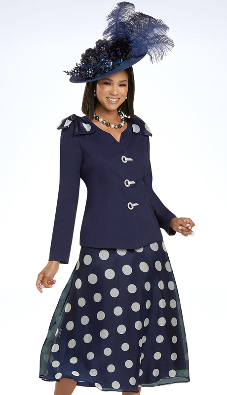 Donna Vinci 11919 ( 2pc Exclusive PeachSkin Ladies Sunday Suit With Pokla Dot Chiffon Fabric And Rhinestone Buckles )