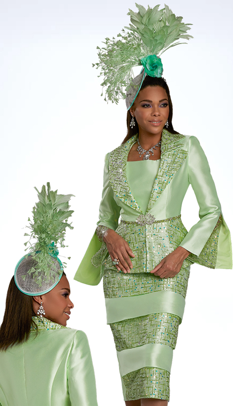 Donna Vinci 11937 ( 2pc Exclusive Silk Womens Church Suit Trimmed With Sequin Novelty Embroidery, And Mint Rhinestones On Waistband And Buckle )