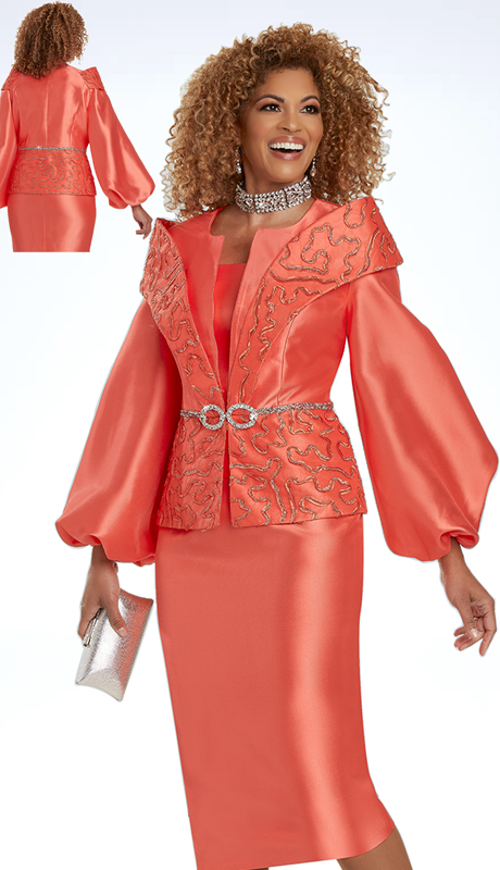 Donna VInci 5722 ( 2pc Exclusive SIlk Ladies Sunday Suit Trimmed With Novelty Orange Soutache, Rhinestone Waistband, And Buckle )