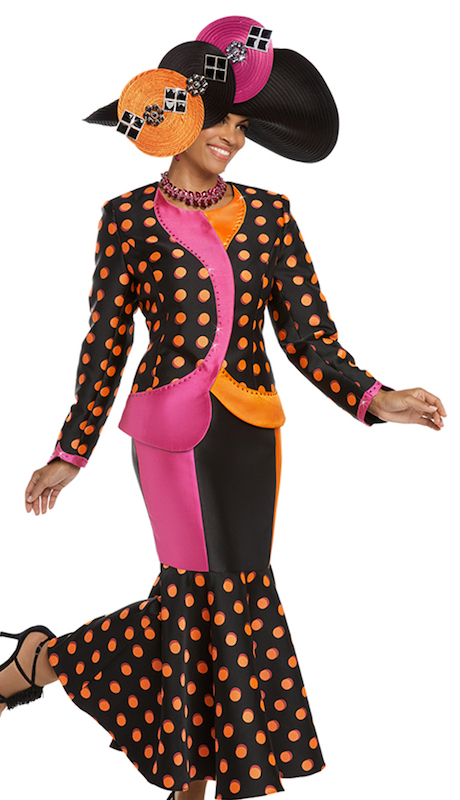 Donna Vinci 5584 ( 2pc Womens Exclusive Novelty Jacket And Skirt Suit With Orange And Fuchsia Rhinestones )