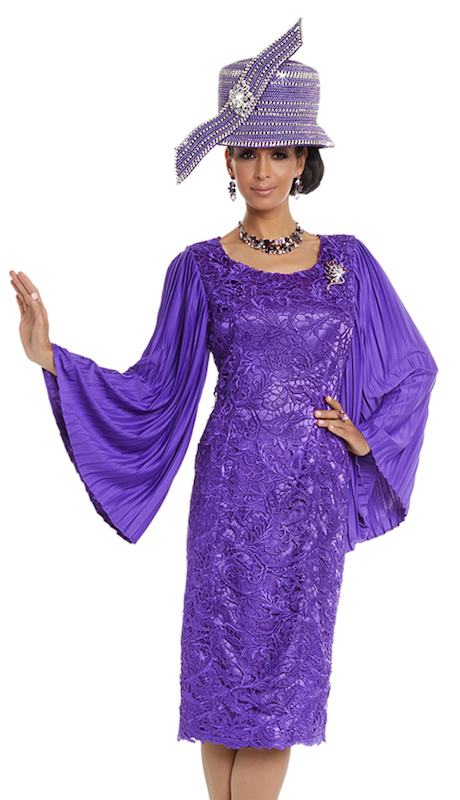 Donna Vinci 5607 ( 1pc Womens Church Dress In Beautiful Guipure Lace With Rhinestone Brooch )