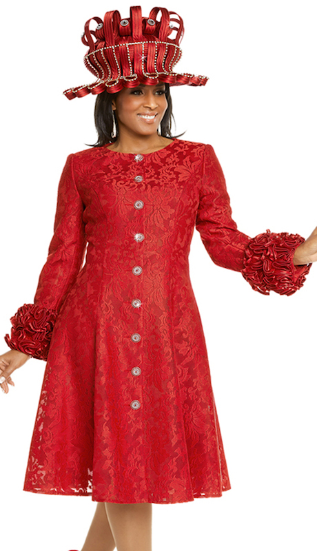 Donna Vinci 5608 ( 1pc Ladies Novelty Lace Sunday Dress With Satin Trimmed Ruffles And Beautiful Rhinestone Buttons )