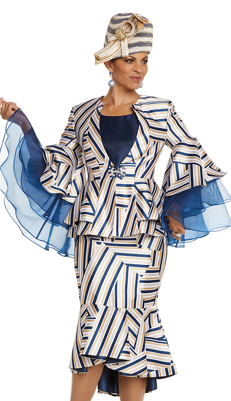 Donna Vinci 5610 ( 3pc First Ladies Novelty Stripe Jacket With Cami And Skirt Set With Organze Sleeves And Elaborate Rhinestone Buckle )