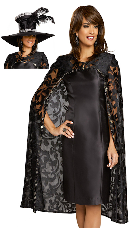 Donna Vinci 5611-IH ( 2pc Ladies Exclusive Novelty Lace Dress And Jacket Set In Silk Trimmed With Black Rhinestones )