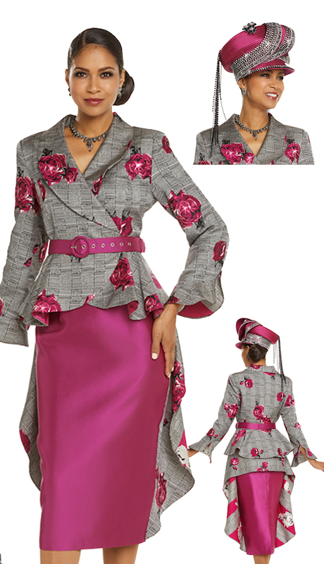Donna Vinci 5612 ( 2pc Exclusive Novelty Jacket And Skirt Suit Combined With Silk Trimmed With Fuchsia Rhinestones )