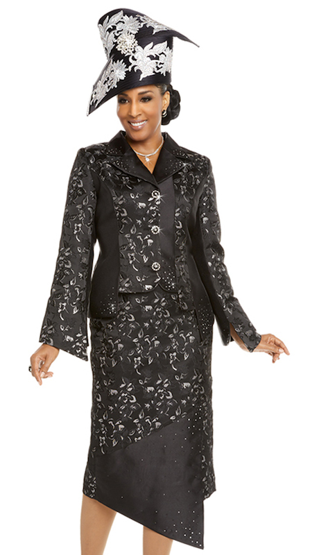Donna Vinci 5613 ( 2pc Womens Exclusive Novelty Jacket And Skirt Set Combined With Silk Trimmed With Black And Silver Rhinestones On Jacket, Skirt, And Buttons )